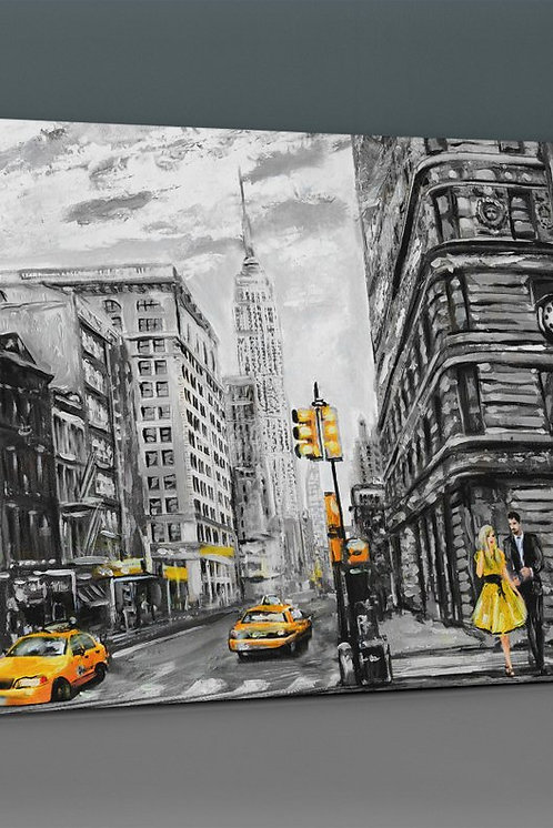 New York (Ny) Yellow Canvas Printings