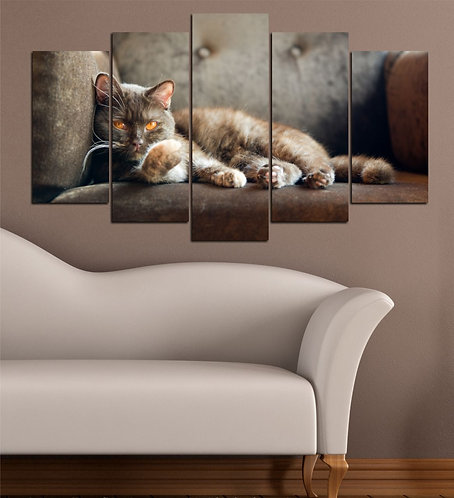 Cat (1) 5 Pieces MDF Painting
