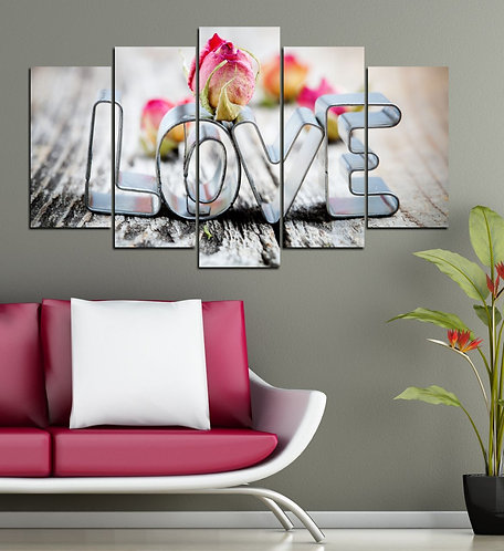 Love 5 Pieces MDF Painting