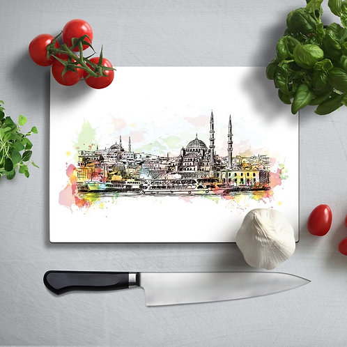 Istanbul Uv Printed Glass Chopping Board 35x25 cm