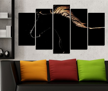 Black Horse 5 Pieces MDF Painting