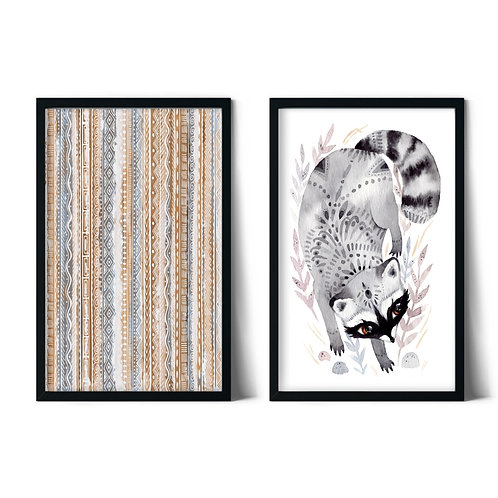 Raccoon and Patterns Framed Combination Table