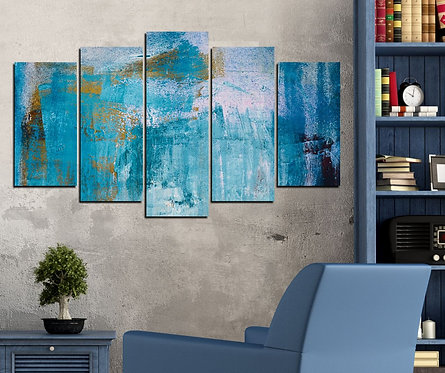 blue 5 Pieces MDF Painting