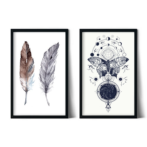Butterfly and Feathers Combined Framed Painting