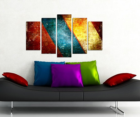 Colorful Stripes 5 Pieces MDF Painting