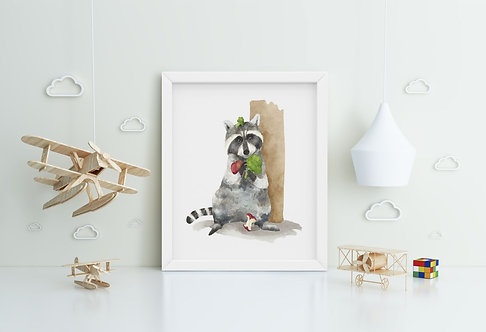 Racoon with Vegetable Framed Printing