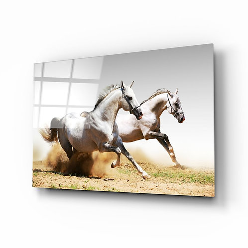 Running Horses UV Printed Glass Printing