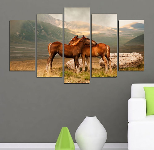 Horses 5 Pieces MDF Painting