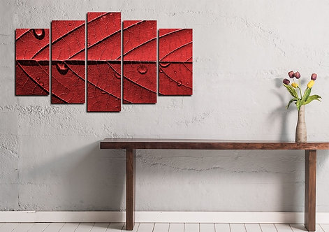 Red Leaf 5 Pieces MDF Painting