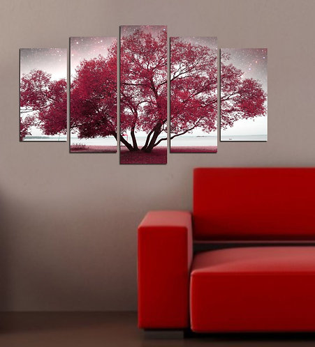 Tree 5 Pieces MDF Painting