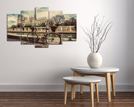 Bicycle 5 Pieces MDF Painting