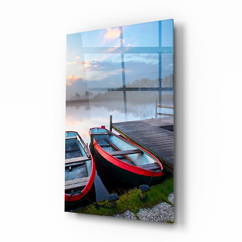 Lake and Boats Landscape UV Printed Glass Printing