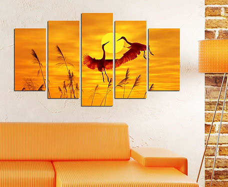 Storks 5 Pieces MDF Painting