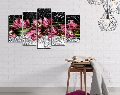 Purple flower 5 Pieces MDF Painting