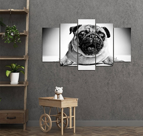 Pugs 5 Pieces MDF Painting
