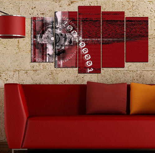 Red in Spiral 5 Pieces MDF Painting
