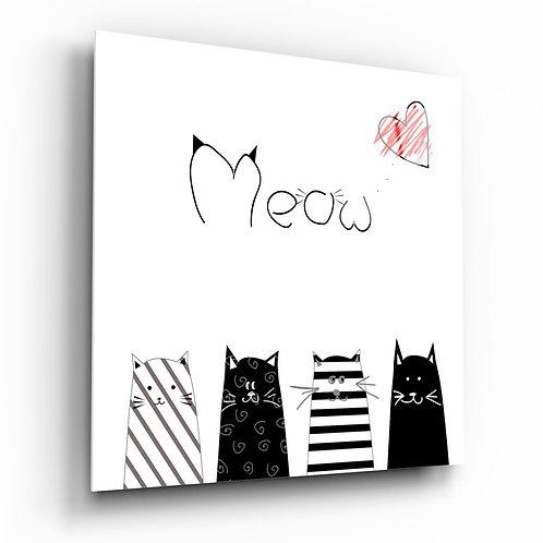 Meow (Cat) UV Printed Glass Printing