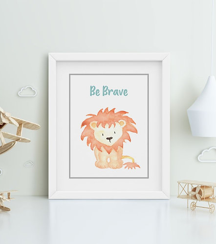 Lion-Be Brave Framed Printing