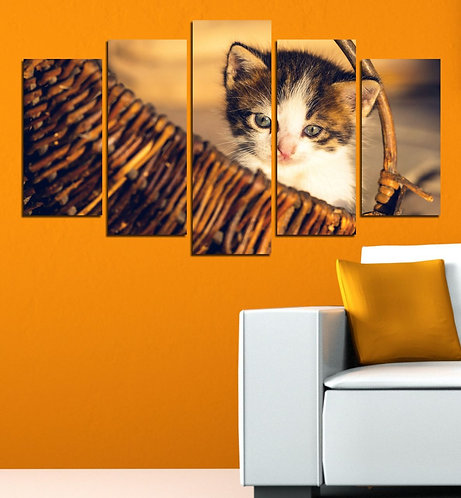 Cat (5) 5 Pieces MDF Painting