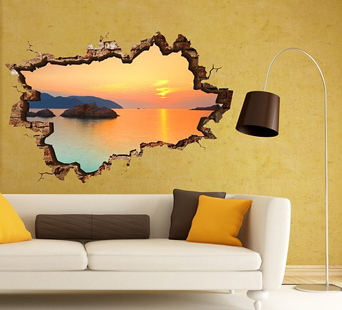 Sunset at Sea 3D Wall Sticker