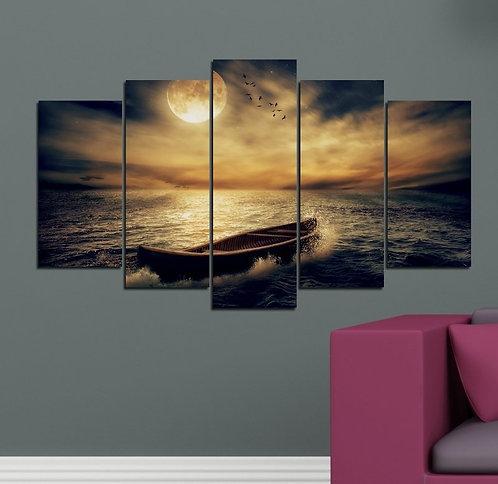 Lake and Kayak 5 Pieces MDF Painting