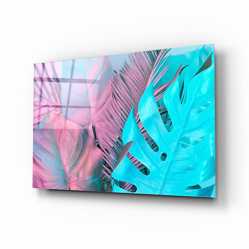 Tropical Leaf UV Printed Glass Painting