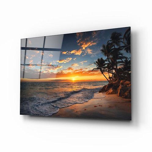 Palm Tree UV Printed Glass Painting