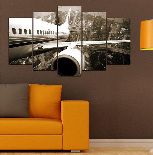 Airplane 5 Pieces MDF Painting