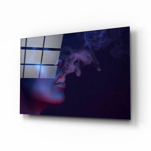 Smoke and Woman UV Printed Glass Printing