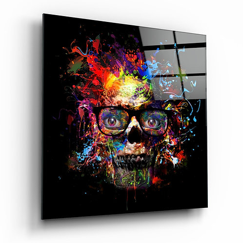 Colorful Skull Glass Table