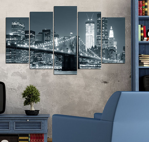 Brooklyn Bridge (3) 5 Pieces MDF Painting