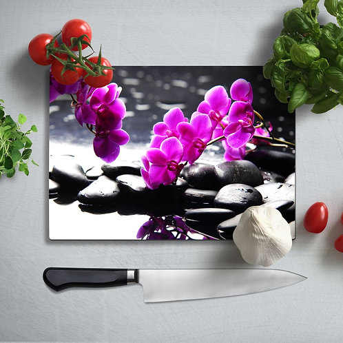 Orchid Uv Printed Glass Chopping Board 35x25cm