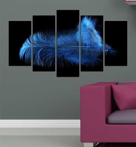 Blue feather 5 Pieces MDF Painting