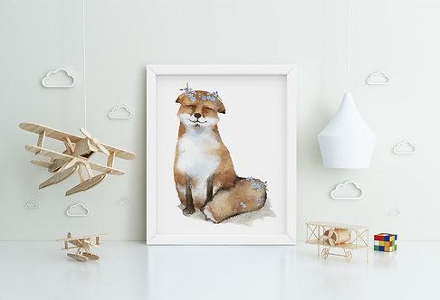 Cute Fox Framed Printing