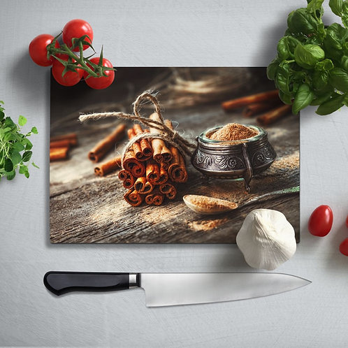 Cinnamon Uv Printed Glass Chopping Board 35x25cm