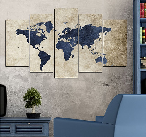World map 5 Pieces MDF Painting