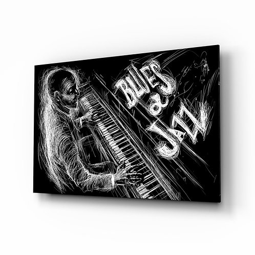 Jazz Blues Music Glass Painting