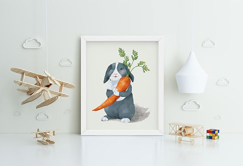 Rabbit with Carrot Framed Printing