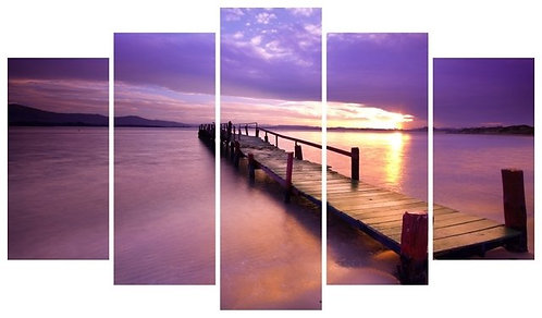 Sunset on the Docks 5 Pieces MDF Painting