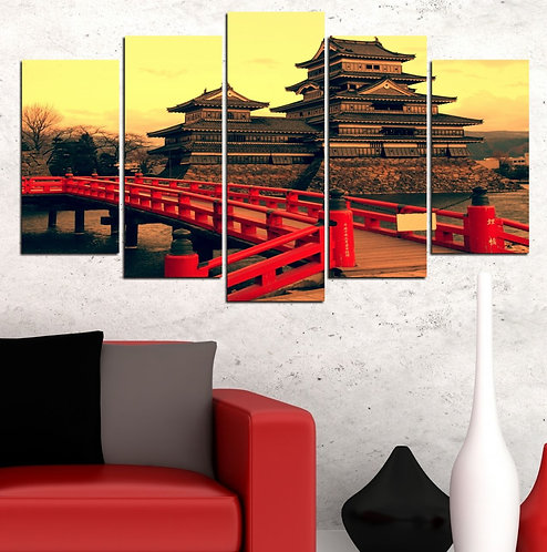 Japanese House 5 Pieces MDF Painting