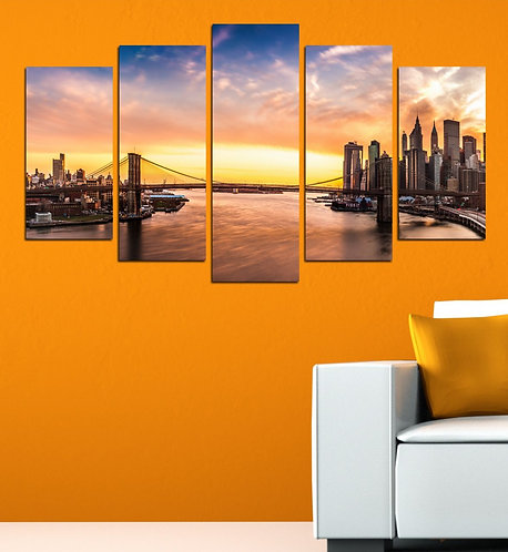 New york (4) 5 Pieces MDF Painting