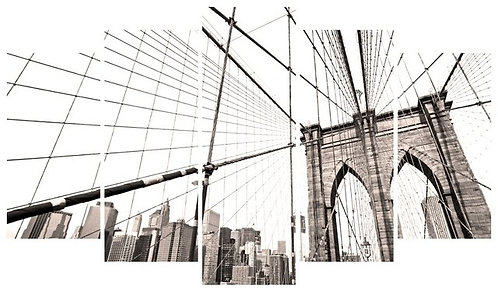 Brooklyn Bridge 5 Pieces MDF Painting