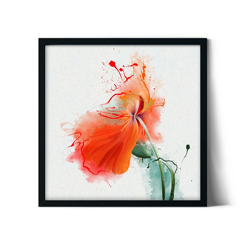 Watercolor Poppy Framed Painting