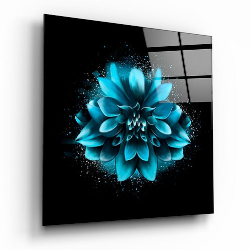 Blue Flower UV Printed Glass Painting