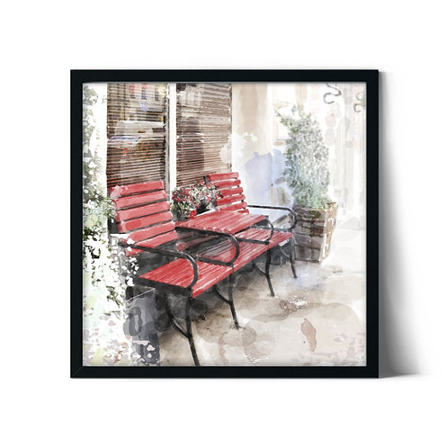 Benches Framed Painting