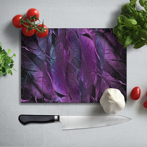 Purple Feather  Uv Printed Glass Chopping Board 35x25 cm