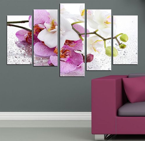 Orchids (2) 5 Pieces MDF Painting