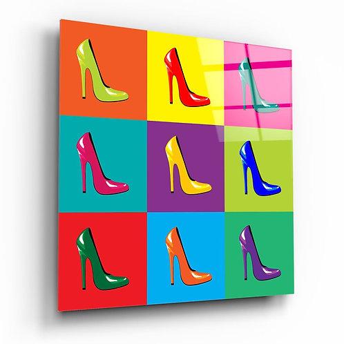 Colorful Shoes UV Printed Glass Printing
