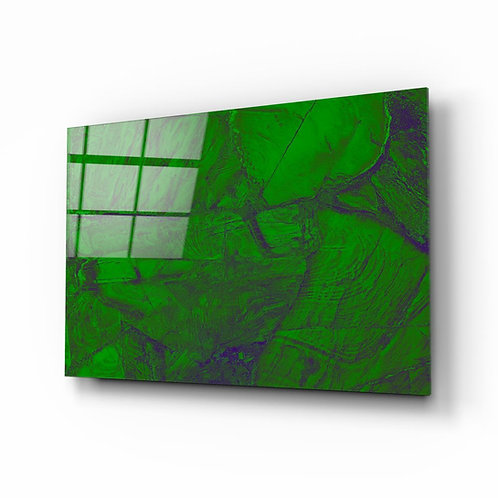 Green Abstract Pattern Glass Painting