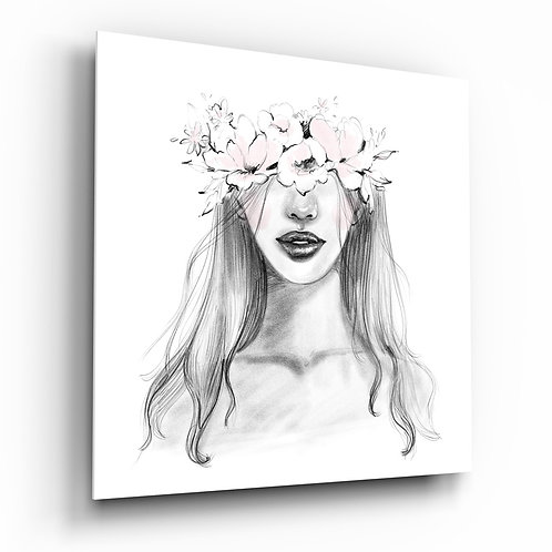 Pencil Drawing Woman with Flower Crown Glass Painting